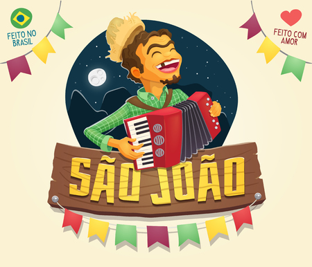 Sao Joao (Saint John) sign with happy hillbilly playing the accordion - Brazilian June Party - Multiple layers - Made in Brazil - Made with love Illustration