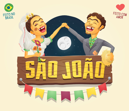 hick: Brazilian June Party hick couple with wooden sign logo  header - Multiple layers - High quality vector cartoon for june party themes - Made in Brazil - Made with love Illustration