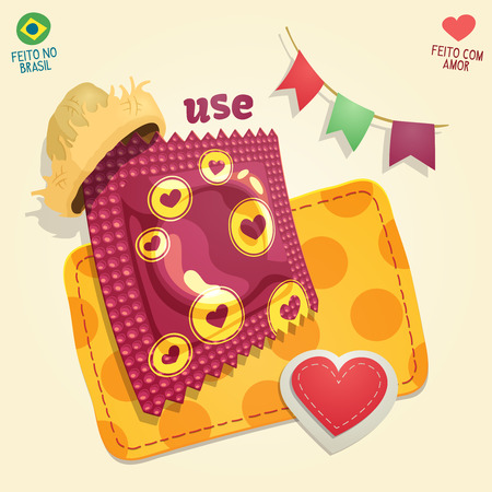 Condom package wearing a straw hat in a Brazilian June Party thematic composition. For campaigns of venereal disease prevention during Brazilian June Parties. Illustration