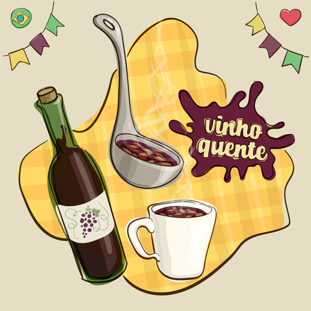 Splash text translation: mulled wine. Traditional beverage consumed during Brazilian June Parties, in a mug and being served with a ladle beside a wine bottle. Loose style joyful vector. Illustration
