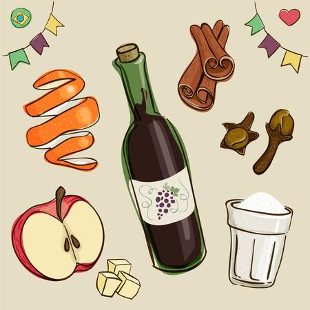 Mulled wine ingredients: wine, sugar; Chopped apples; Orange peel; Cinnamon and dry cloves. Traditional beverage consumed during Brazilian June Parties. Loose style joyful vector.