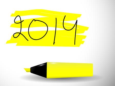 marker pen: Yellow marker pen highlighting 2014 Illustration