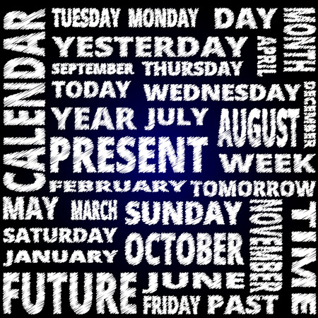 word collage: Time and calendar word cloud scribble style text on blue background