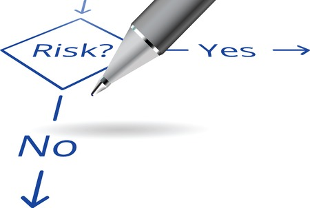 Risk Yes No flowchart concept with ball pen 向量圖像