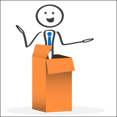 Man rising from cardboard box. Ink style illustration. Vector