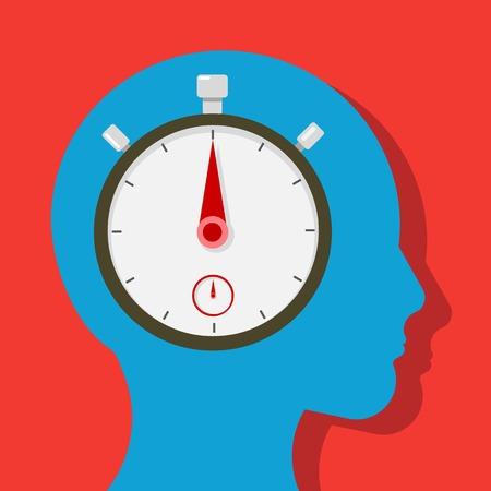 person thinking: Persona a pensar en el tiempo Vectores