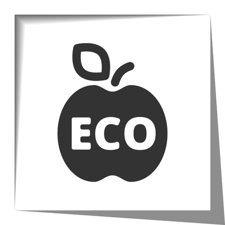 shadow effect: Ecological Food icon with cut out shadow effect