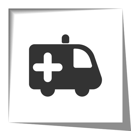 shadow effect: Ambulance icon with cut out shadow effect