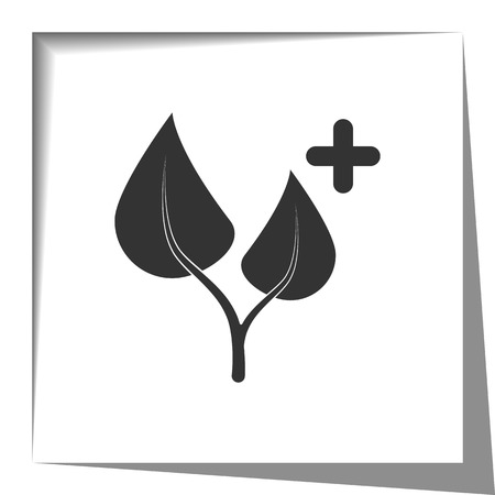 shadow effect: Medical Herbs icon with cut out shadow effect Illustration
