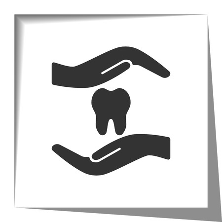 orthodontist: Dental Care icon with cut out shadow effect Illustration