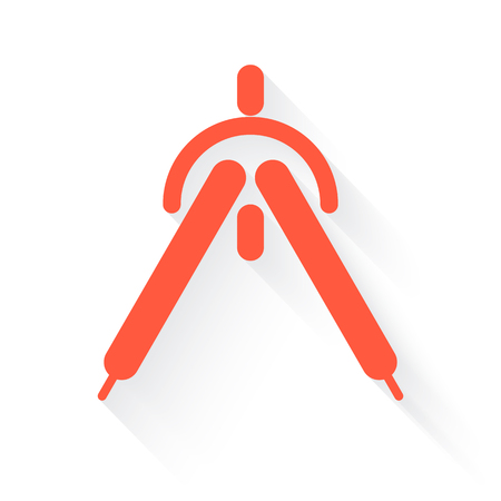 drafting: drafting compass in orange with drop shadow on white