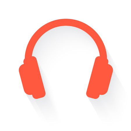 stereo cut: headphones in orange with drop shadow on white