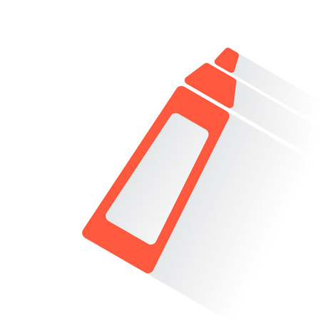drop shadow: Orange Baby Bottle symbol with drop shadow on white background