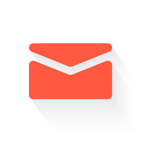 mail in orange with drop shadow on white