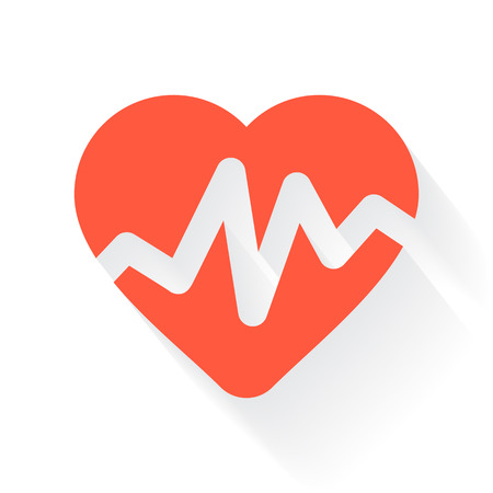 drop shadow: Orange Heart Rate Pulse symbol with drop shadow on white background