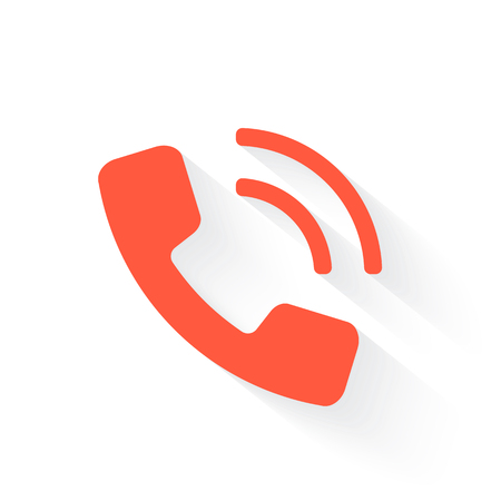 call outs: phone in orange with drop shadow on white Illustration