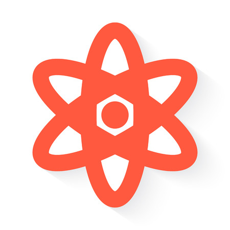 fission: nuclear in orange with drop shadow on white