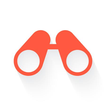 Binoculars symbol in orange withdrop shadow on white