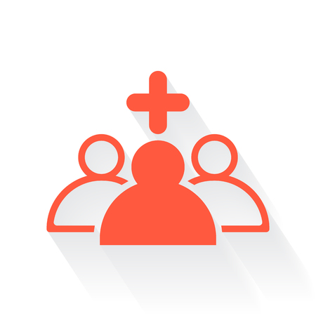 clinical staff: Orange Medical Staff symbol with drop shadow on white background Illustration