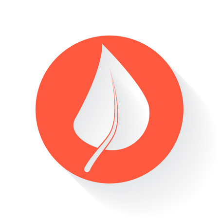 drop shadow: Orange Herbs symbol with drop shadow on white background