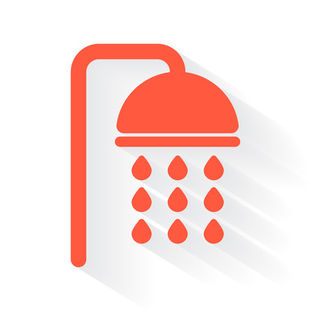 drop shadow: Orange Shower symbol with drop shadow on white background