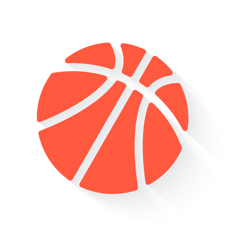 basketball in orange with drop shadow on white