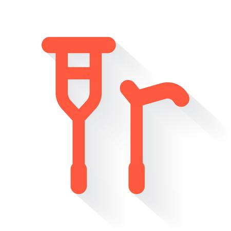 crutch: Orange Crutch Cane symbol with drop shadow on white background