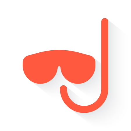 deep sea diver: Scuba Diving symbol in orange withdrop shadow on white