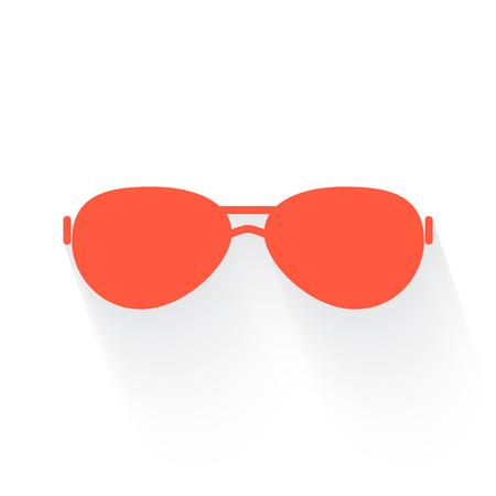 eye shade: Sunglasses symbol in orange withdrop shadow on white