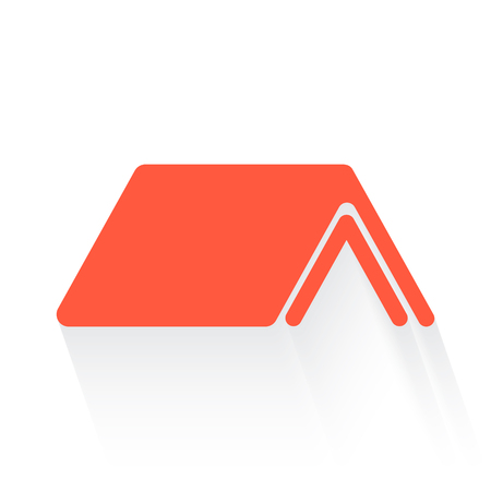 shelter: Shelter symbol in orange withdrop shadow on white