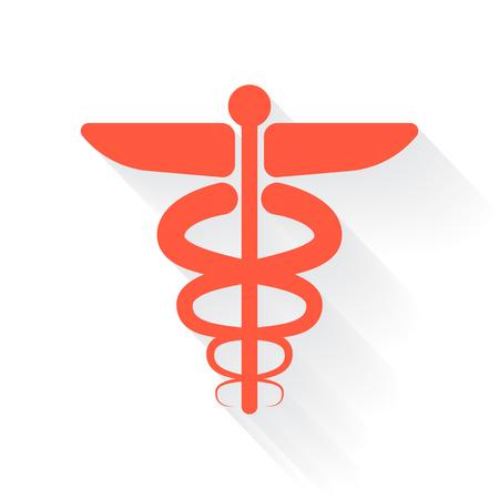 esculapio: S�mbolo m�dico del icono naranja con sombra sobre fondo blanco Vectores