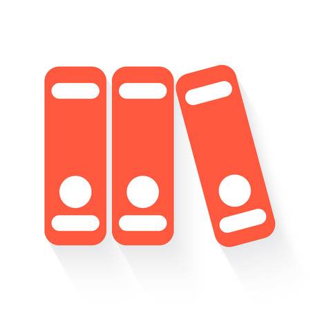 stack of files: binders in orange with drop shadow on white