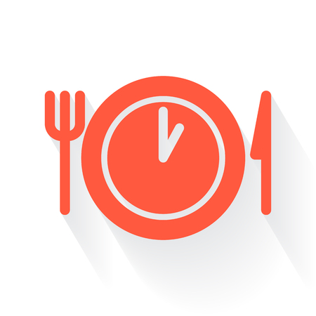 drop shadow: Orange Lunch Time symbol with drop shadow on white background
