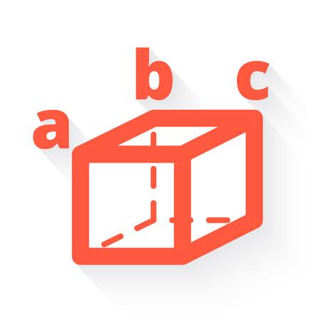 trigonometry: trigonometry in orange with drop shadow on white