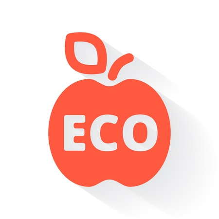 drop shadow: Orange Ecological Food symbol with drop shadow on white background