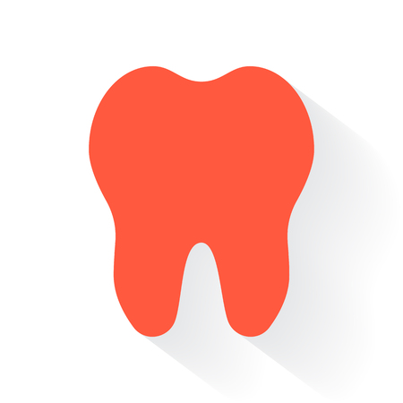 drop shadow: Orange Tooth symbol with drop shadow on white background