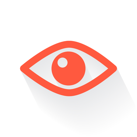 drop shadow: Orange Eye symbol with drop shadow on white background Illustration
