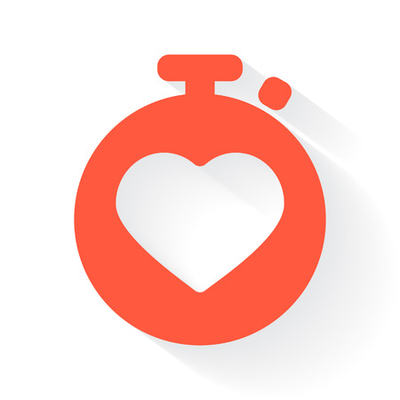 heart monitor: Orange Heart Rate Monitor symbol with drop shadow on white background