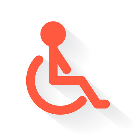 drop shadow: Orange Wheel Chair symbol with drop shadow on white background
