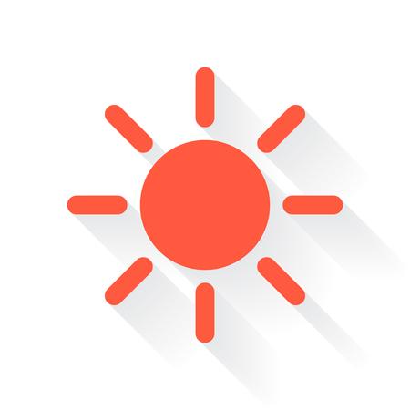 drop shadow: Orange Sun symbol with drop shadow on white background Illustration