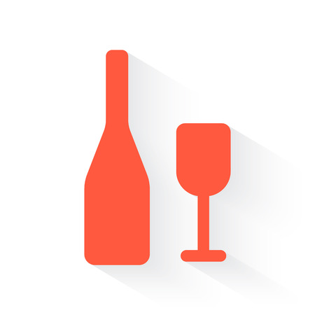 lifestyle dining: Wine symbol in orange withdrop shadow on white