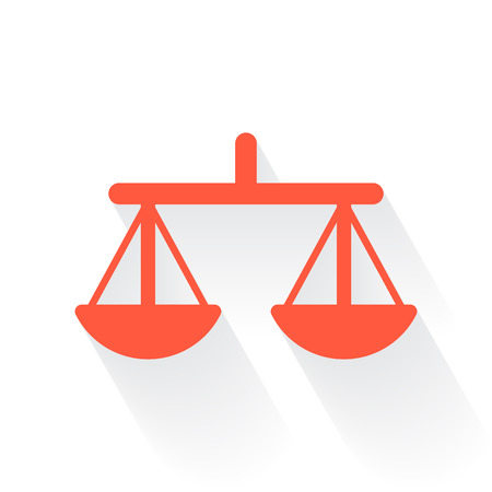 equilibrium: Orange Balance symbol with drop shadow on white background Illustration