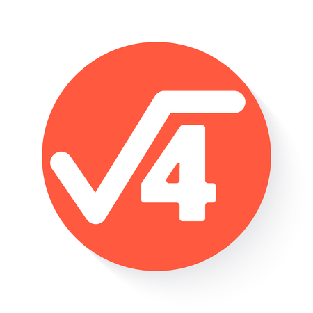 square root: square root in orange with drop shadow on white Illustration
