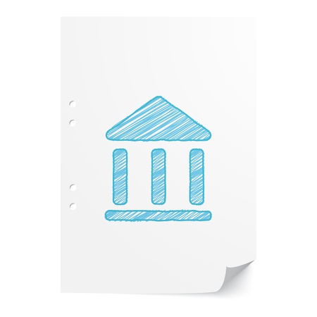 juridical: Blue handdrawn Institution illustration on white paper sheet with copy space Illustration