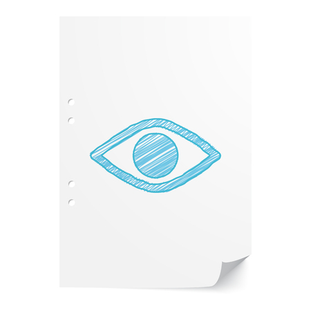 Blue handdrawn Eye Sight illustration on white paper sheet with copy space