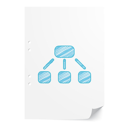 jerarqu�a: Blue handdrawn Hierarchy illustration on white paper sheet with copy space Vectores