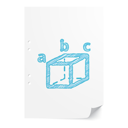 trigonometry: Blue handdrawn Trigonometry illustration on white paper sheet with copy space