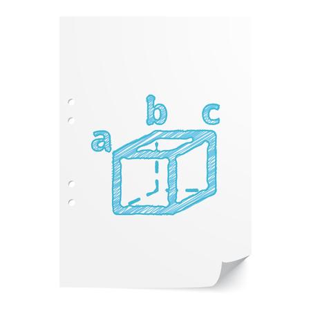 trigonometry: Blue handdrawn Trigonometry illustration on white paper sheet with copy space