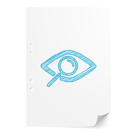 Blue handdrawn Observation illustration on white paper sheet with copy space