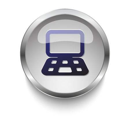 glass button: Dark blue Computer icon on a glossy glass button with chrome on white background